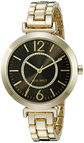 Nine West Women's NW/1768BKGB Glitter-Accented Gold-Tone Bracelet Watch (Link Watch Circle Bracelet)