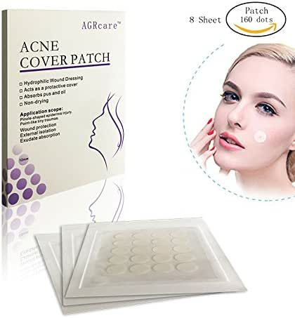 AGRCARE Acne Absorbing Cover,Pimple Patch Hydrocolloid Acne Absorbing Spot Dot (8 Sheet/160 dots)