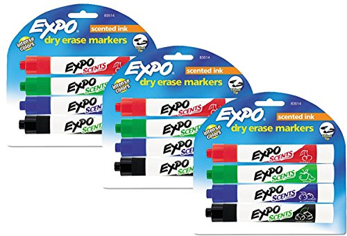 Expo Scents Chisel Tip Dry Erase Markers, 4 Colored Markers (Pack of 3)