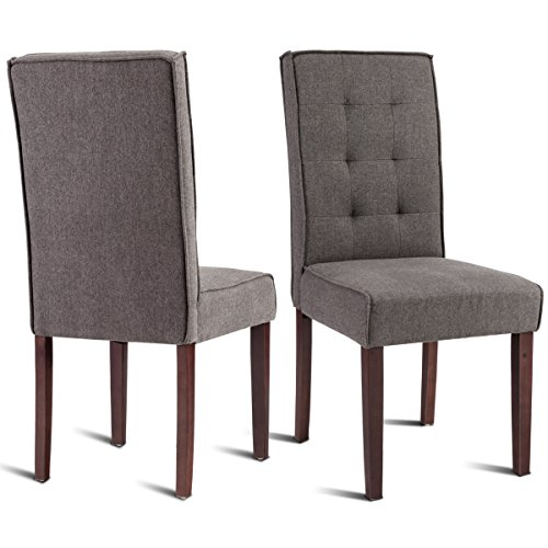 (Giantex 2 Pcs Parson Dining Chair Living Room Bedroom Home Study Armchairs Modern Side High Back Chairs Linen Fabric Upholstered Solid Wood Legs (Brown))