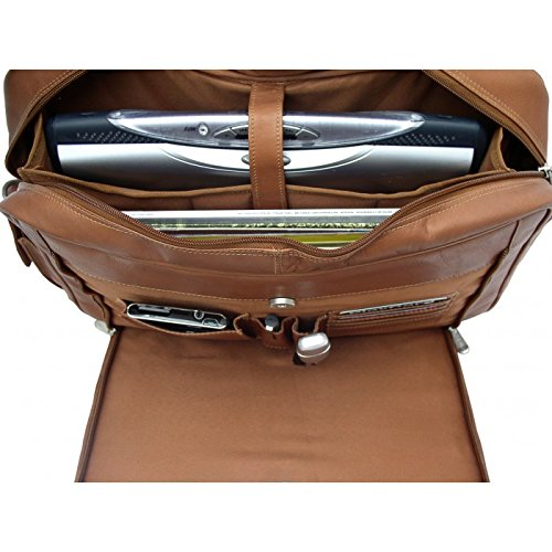 Piel Leather Entrepeneur Double Executive Computer Bag in Chocolate