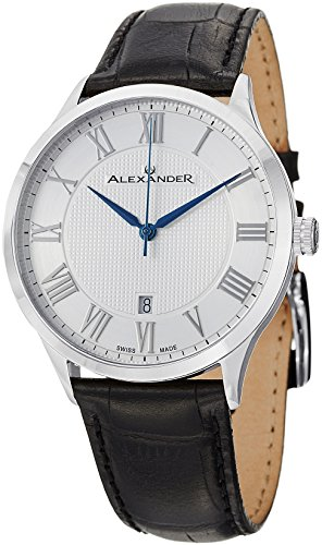 Alexander Statesman Triumph Men's Silver Dial Black Leather Strap Swiss Made Watch A103-01