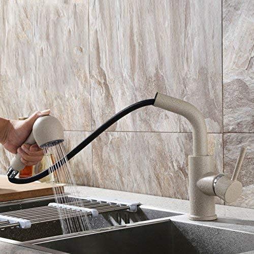 S-TING 蛇口 蛇口流域ミキサータップ滝の蛇口アンティーク浴室台所のシンクは、ホットフル銅蛇口と冷たいプル蛇口B、現代バースミキサータップ浴室浴槽レバーの蛇口 水栓金具 立体水栓 万能水栓