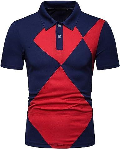 Camisas de Polo Casual para Hombre Camisetas de Manga Corta Remiendo Polos Polos Camisas de Cuello Redondo Abajo