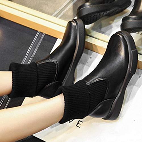 Black Women Casual Ankle Sjjh Sport Boots 4fRngUx