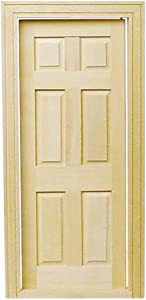 Melody Jane Dollhouse Traditional Wooden 6 Panel Interior Door 1:12 Miniature Builders DIY