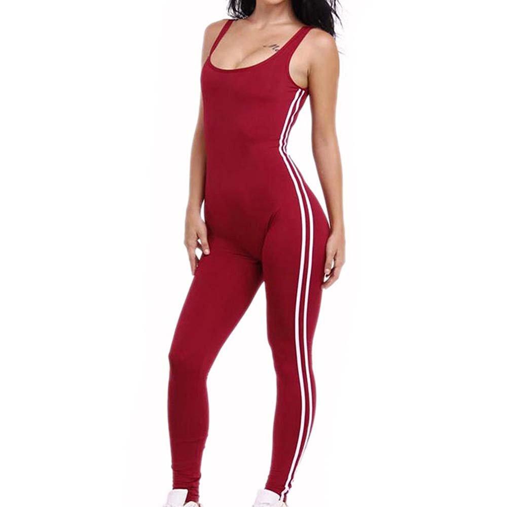 Huateng Women's Jogging Yoga One-piece Pants - Sport One-piece Jumpsuit Bodysuit (Red)