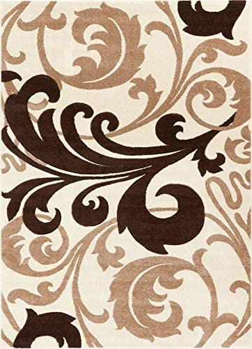 Melanie Floral Ivory Beige Modern Geometric Comfy Casual Fleur-de-Lis Hand Carved Area Rug 8×10 8×11 7 10 x 9 10 Easy to Clean Stain Resistant Contemporary Thick Soft Plush Living Dining Room