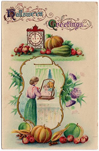 Halloween Postcard Women Look Into Mirror Sees Fantasy Jack-O-Lantern Man~107709 (Halloween Looks)