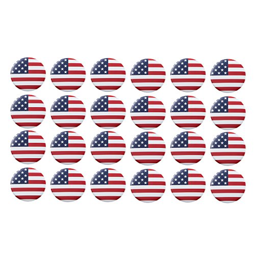 American Flag Pinback Buttons - 24-Pack of Patriotic Round Button Pins, USA Flag Metal Pins for Veteran's Day, Flag Day, Election Day, Patriotic Events, 2.25 inches Diameter ()