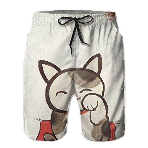Fortune Lucky Cat Comfortable Quick Dry Men Board Shorts Sport Swim Trunk M-XXL by 2018 pants