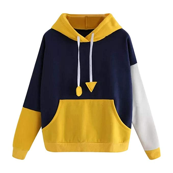 K-Youth Sudaderas Tumblr Mujer Original Patchwork Adolescente Chica Sudadera con Capucha Manga Larga Mujer Pull-Over Otoño Invierno Deportes Tops Casual ...