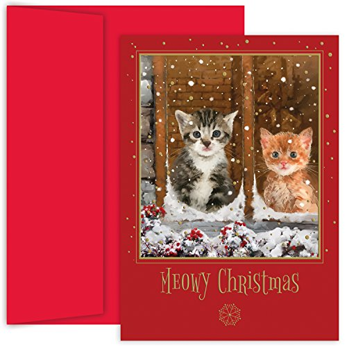 Masterpiece Studios Holiday Collection Boxed Cards, Meowy Christmas, 18 Cards/18 Envelopes