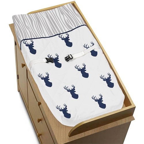 Sweet Jojo Designs Navy White and Gray Woodland Deer Boys Baby Changing Pad Cover by Sweet Jojo Designs