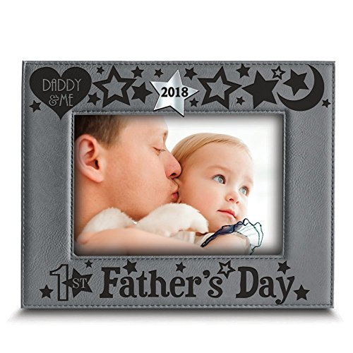 BELLA BUSTA First Father's Day 2018-Engraved Modern Leather Picture Frame- Laser cut and Engraved 2018 Silver Mirror Acrylic Piece Integrated (5
