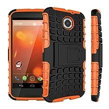 Moto X2 Case, ANGELLA-M Built-in Kickstand Hybrid Armor Case Detachable 2in1 Shockproof Tough Rugged Dual-Layer Cover Case for Motorola Moto X2 /Moto X (2nd Gen) /Moto X+1 Orange