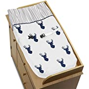 Sweet Jojo Designs Navy White and Gray Woodland Deer Boys Baby Changing Pad Cover