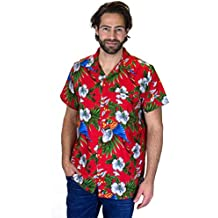 Funky Hawaiian Shirt Men Shortsleeve Frontpocket Hawaiian-Print Cherry Parrots Party Flowers
