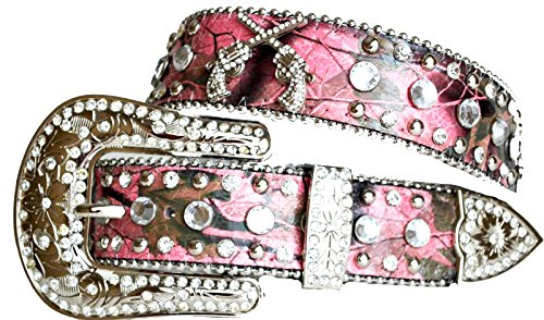 Camouflage Rhinestone Leather Pistol Gun Concho Pink Belt - Large 34 36