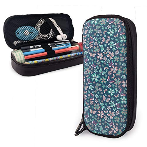 Flower Butterfly Theme Cute Pen Pencil Case Leather 8 X 3.5 X 1.5 Inch Big Capacity Double Zippers Pencil Pouch Bag Pen Holder Box for School Office Girls Boys Adults