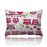 Anyangeight Nursery Small Pillowcase Girl Baby Shower Themed Owls and Branches Adorable Cartoon Animal Characters Zipper Pillowcase 13'x18' Purple Pink Brown