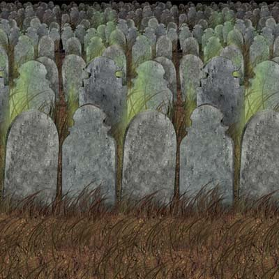 Graveyard Backdrop Insta-theme Decorations (Halloween Graveyard Fence Prop)
