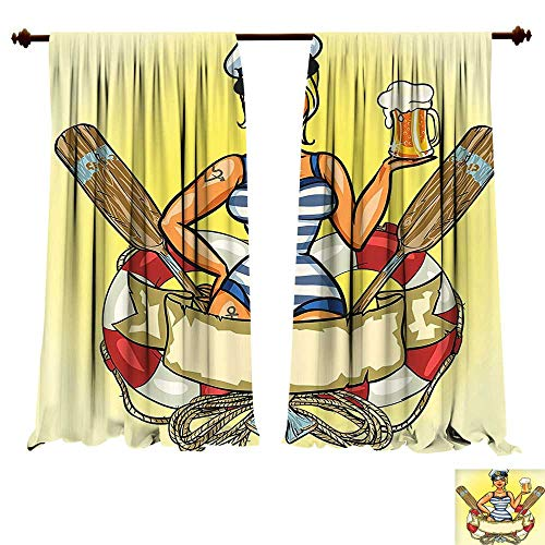 Thermal Insulated Blackout Grommet Curtain Pin Up Sexy Sailor Girl in Lifebuoy with Captain Hat and Costume Glass of Beer Feminine Design Multi Drapes for Living Room (W120 x L107 -Inch 2 Panels) ()