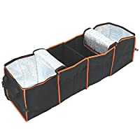 Collapsible 4-Compartment Auto Trunk Organizer Made of Heavy-Duty 600D Pack Cloth with 2 Insulated Cooler Sections Provides Folding Storage for Groceries in Your Car Truck or SUV