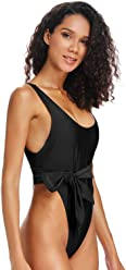 1a327a792c126 Dixperfect Belted One Piece Swimsuit Low Scooped Back High Cut Leg Beach  Bathing Suit