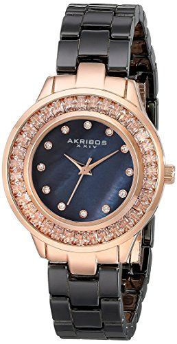 Akribos XXIV Women's AK781BKR Crystal Baguette Quartz Movement Watch with Black Mother of Pearl Dial and Ceramic Bracelet