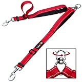 #10: tobeDRI Double Dog Leash Coupler - 2 Padded Handles, Adjustable from 18 to 24 Inch - Heavy Duty Dual Dog Leash for 2 Dogs for Medium large Dogs (Red)