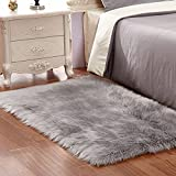 Faux Fur Rug Grey Soft Fluffy Rug Shaggy Rugs Faux Sheepskin Rugs Floor Carpet for Bedrooms Living Room Kids Rooms Decor 60 x 90 cm