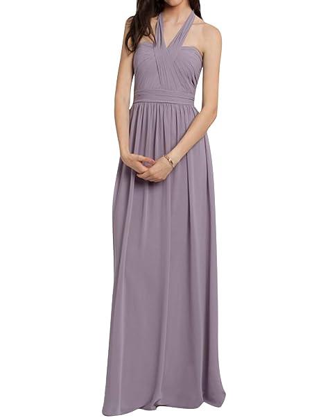 Amazon.com: Halter - Vestido largo de gasa para dama de ...