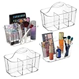 mDesign Plastic Portable Makeup Organizer Caddy Tote, Divided Basket Bin with Handle, for Bathroom Storage - Holds Blush Makeup Brushes, Eyeshadow Palette, Lipstick - 4 Pack, Small, Clear