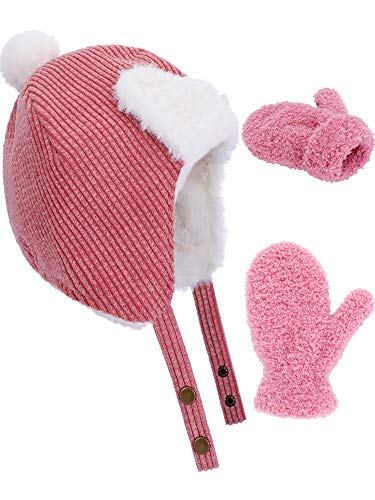 Boao 3 Pieces in Total Boys Girls Lined Fleece Hat Knit Cap Baby Mitten Gloves Set for Winter Kids Supplies (Set 2)