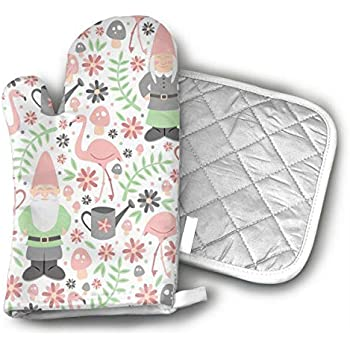 HEPKL Oven Mitts and Potholders Gnome Garden Light Non-Slip Grip Heat Resistant Oven Gloves BBQ Cooking Baking Grilling