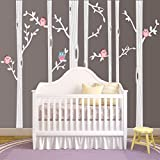 Nursery Birch Tree Wall Decal Set With Owl Birds Forest Vinyl Sticker, Birch Tree Wall Decal, Birch Tree Decal Baby Boy Whimsical Owls (7 trees) #1321 (96' (8ft) Tall, White Trees, Pink Owls)