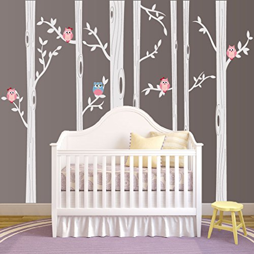 Nursery Birch Tree Wall Decal Set With Owl
