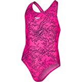 Speedo Girls Boom Allover Splashback Swimsuit, Electric Pink/Black, Size 26
