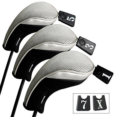 (Andux Golf 460cc Driver Wood Head Covers Interchangeable No. Tag 3 of Set Mt/mg03 Black & Grey)