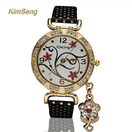 Kim seng marca vestido reloj de cuarzo relojes de piel sintética mujer de regalo de reloj de pulsera reloj lujo Fashion para mujer. xr1555: Amazon.es: ...