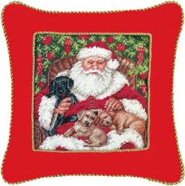 16'' Needlepoint Pillow with Cord - Santa with Pups by C & F Enterprises