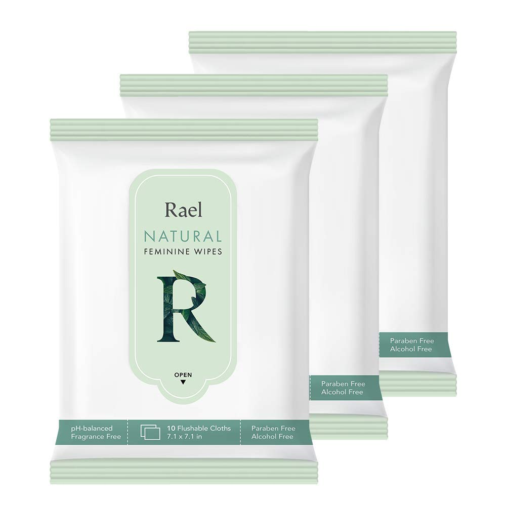 Rael Feminine Wet Wipes with Natural Ingredients - Flushable, travel size, All Skin Use, Eco-Friendly, Paraben Free, Natural Pulp, pH-Balanced, Daily use, Gentle&Safe for Women intimate (3Pack): Beauty