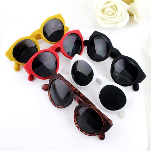 New 2014 Hot Sale Sweet Candy Color Round Pc Lens Black Acetate Frames Sunglasses with Free Glasses Boxes - 2014 Hot Sunglasses