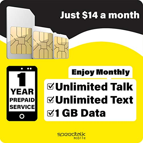 1 Year Prepaid GSM SIM Card - Monthly Unlimited Talk Text and 1GB 4G LTE Data No Contract 12 Months Plan (Best Talk And Text Only Plans)