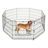 ALEKO SDK-36B Heavy Duty Pet Playpen Dog Kennel Pen Exercise Cage Fence 8 Panel 36 x 36 Inches Black Review