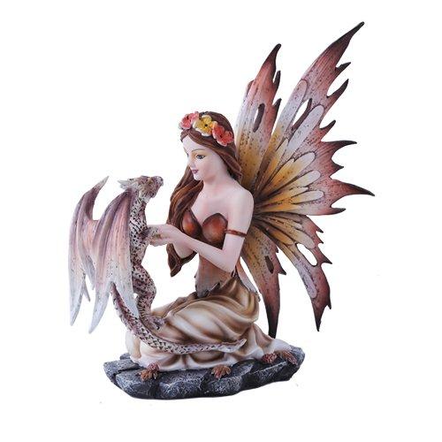 Autumn Fairy and Leapard Dragon Mystical Statue Figurine Fall Leaves