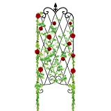 Amagabeli Garden Trellis for Climbing Plants 47'' x 16'' Rustproof Black Iron Potted Vines Vegetables Vining Flowers Patio Metal Wire Lattices Grid Panels for Ivy Roses Cucumbers Clematis Pots Supports