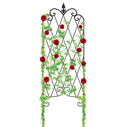 Amagabeli Garden Trellis for Climbing Plants 47'' x 16'' Rustproof Black Iron Potted Vines Vegetables Vining Flowers Patio Metal Wire Lattices Grid Panels for Ivy Roses Cucumbers Clematis Pots Supports by AMAGABELI GARDEN & HOME