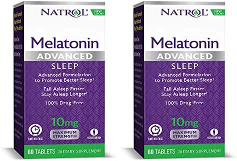 Natrol Melatonin + 5 HTP Advanced Sleep Time Release Bi-Layer Tablets, Triple-Action Formula, Calm The Mind, Helps You Fall Asleep Faster, Stay Asleep Longer